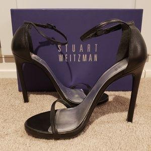 Stuart Weitzman Nudist Black Leather Heels Size 8